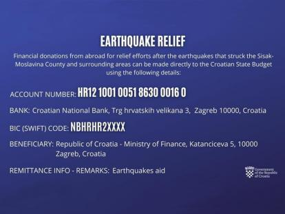 "Donations for ""Earthquake relief"""